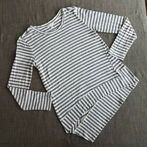 Cabi striped Uneven Hem Long Sleeve Shirt